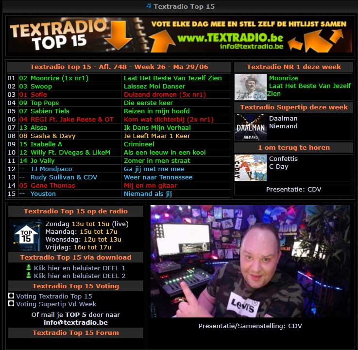 Moonrize op één bij Textradio